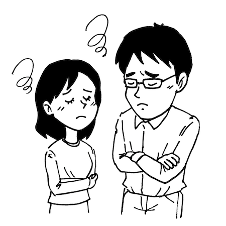 困って悩み顔の夫婦モノクロイラスト