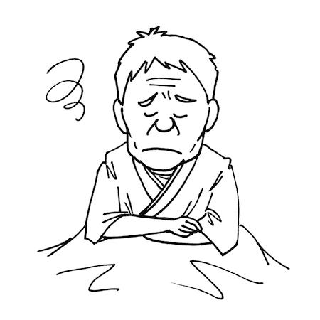 困った顔の入院患者高齢者モノクロイラスト