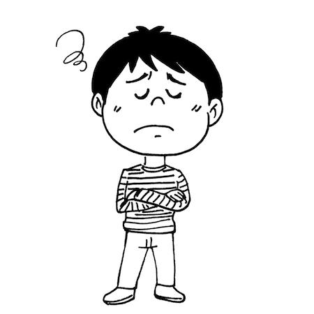 困った顔で悩んでいる子どもモノクロイラスト