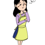 困った顔で悩む主婦女性イラスト