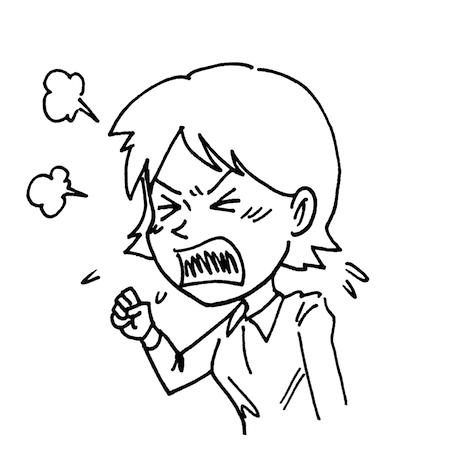 怒っている女性モノクロイラスト