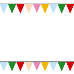 三角フラッグ旗フレーム枠イラスト