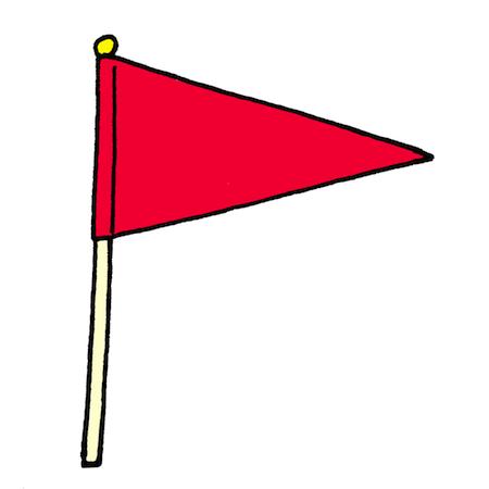三角形の手旗イラスト赤