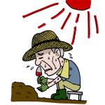 炎天下で作業する高齢者イラスト