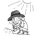 炎天下で作業する高齢者モノクロイラスト