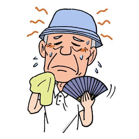 扇子を扇ぐお年寄り熱中症イラスト