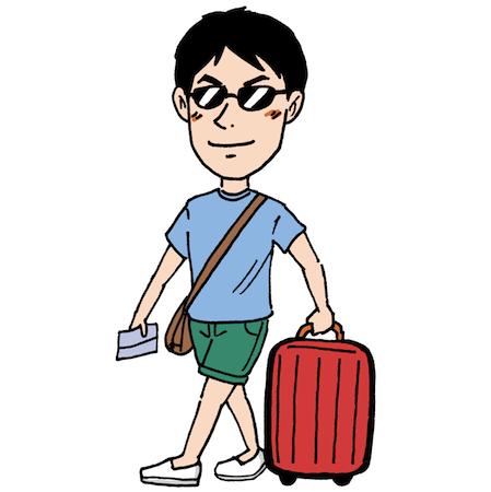 夏休みの旅行に行く男性イラスト