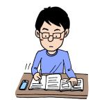 机で勉強をしている男性イラスト