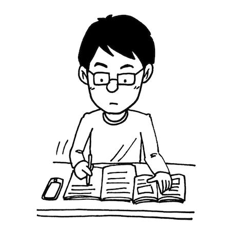 机で勉強をしている男性線画