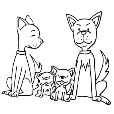 犬の親子モノクロイラスト