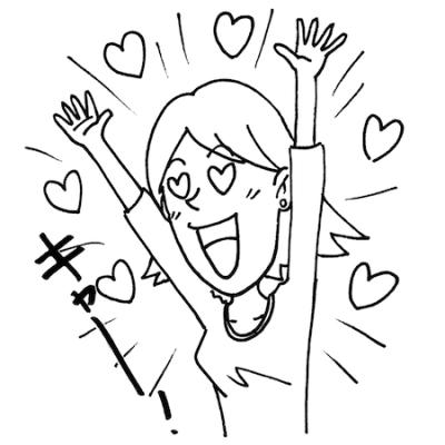 歓声を上げる女性モノクロイラスト
