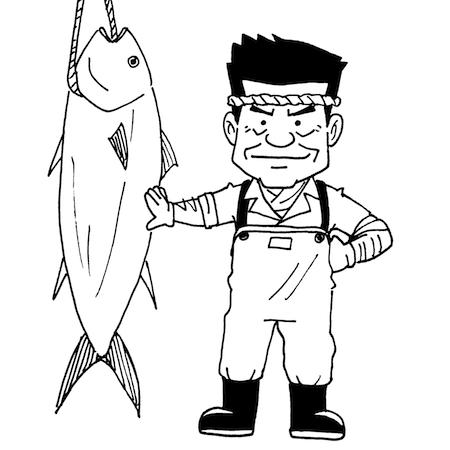 マグロ一本釣り漁師線画