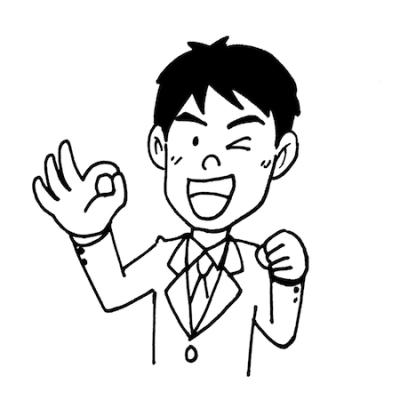 OKサインポーズをする男性モノクロイラスト
