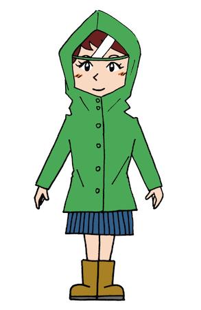 レインコート合羽を着ている女性イラスト