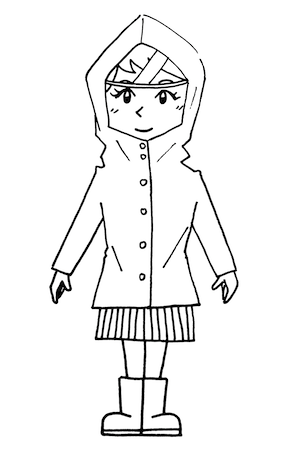 レインコート合羽を着ている女性線画