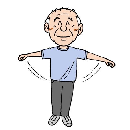 体操で体を動かす高齢者イラスト