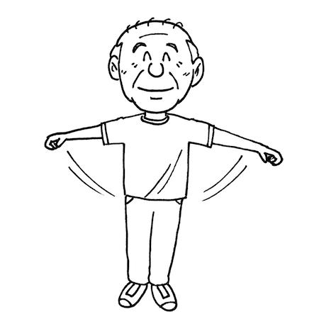 体操で体を動かす高齢者モノクロイラスト