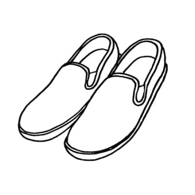 スリッポン靴スニーカーモノクロイラスト