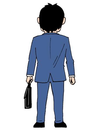 立っている男性後ろ姿イラスト