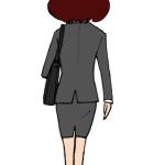 立っている女性の後ろ姿イラストビジネスウーマン