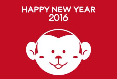赤一色の猿顔デザイン年賀状テンプレート無料2