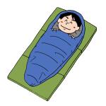 寝袋シュラフを使う男性イラスト