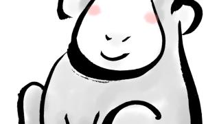 お猿墨絵水墨画風の申年年賀状素材