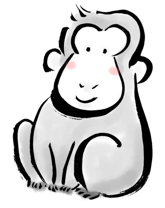 お猿墨絵水墨画風イラスト
