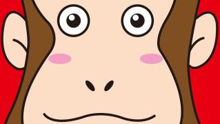 ポップな猿顔デザイン年賀状テンプレート無料2