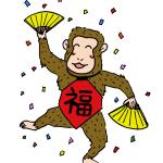 踊るお猿さん無料イラスト年賀状素材