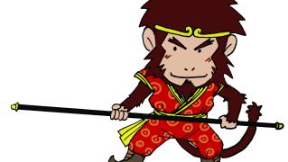 西遊記の孫悟空★猿年賀状イラスト