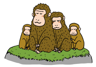 寄り添って座る猿の親子イラスト無料