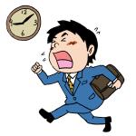 遅刻をする会社員男性イラスト