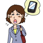 スマホ携帯電話を忘れた気づく女性イラスト