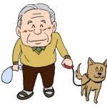 犬の散歩をするお年寄り高齢者イラスト