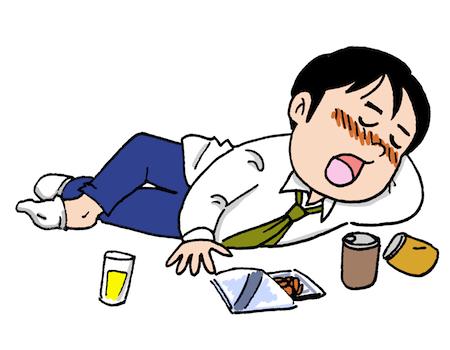 酔っぱらい寝る飲み過ぎ男性イラスト