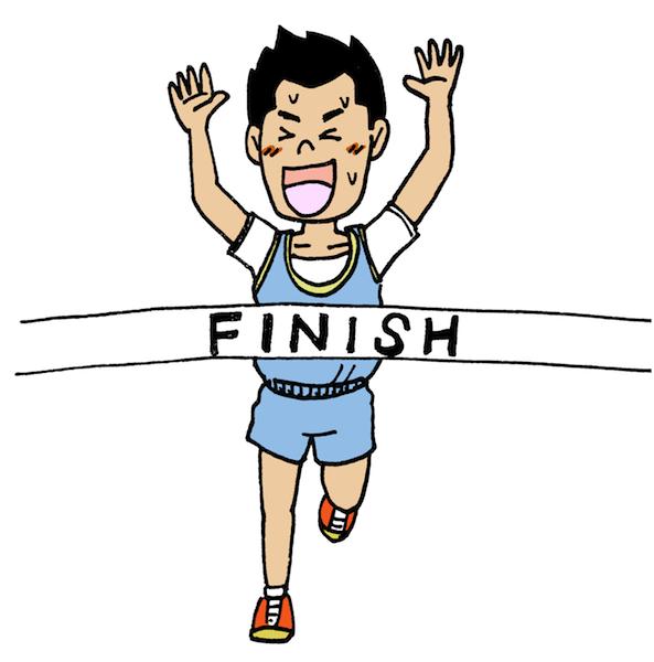 マラソンでゴールをした人イラスト無料