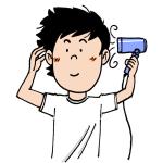 ドライヤーをかける髪を乾かす男性イラスト