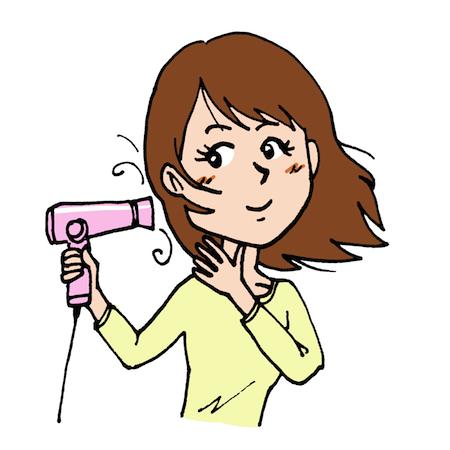 ドライヤーをかける髪を乾かす女性イラスト