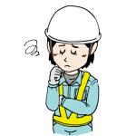 困った顔で悩む女性建設作業員イラスト