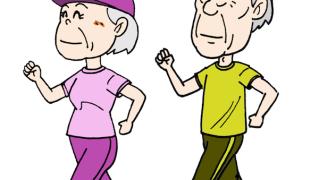 ウォーキング高齢者シニア無料イラスト