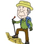 登山を楽しむ高齢者シニアイラスト