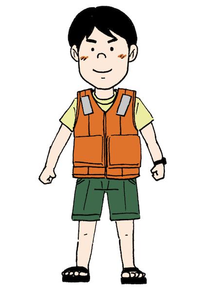 ライフジャケット救命胴衣の着用イラスト