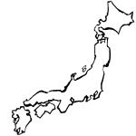墨絵日本地図無料イラスト
