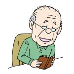 読書をするおじいさん本を読むイラスト