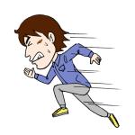 全力で走る逃げる人イラスト