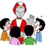 子どもたちと変身ヒーローイラスト