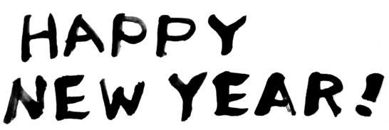 HAPPY NEW YEAR墨文字年賀状素材無料
