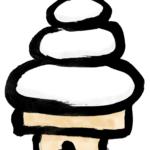 お正月の飾り鏡餅墨絵年賀状素材イラスト