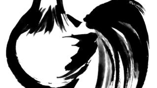 ニワトリ鶏墨絵無料年賀状素材イラスト